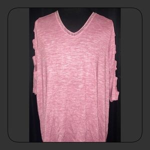 TERRA & SKY PINK CAGE 3/4 SLEEVE SIZE 2X NWT
